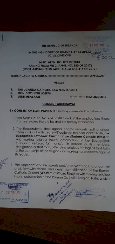 Roman catholic church, Bishop Kibuuka' EOC consent never to attack each other again.